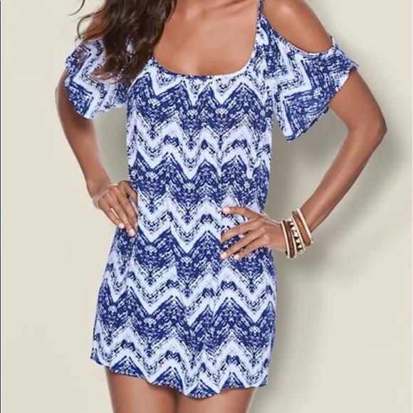 d5786323f15 Venus White   Blue Cold Shoulder Dress - M (EUC). M 5c2600ccbb761571d3c144ee